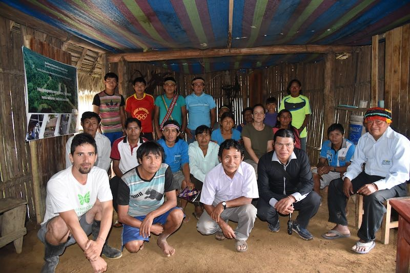 Community leader (right) with Achuar Medicinal Promoters and RP team (center and left).