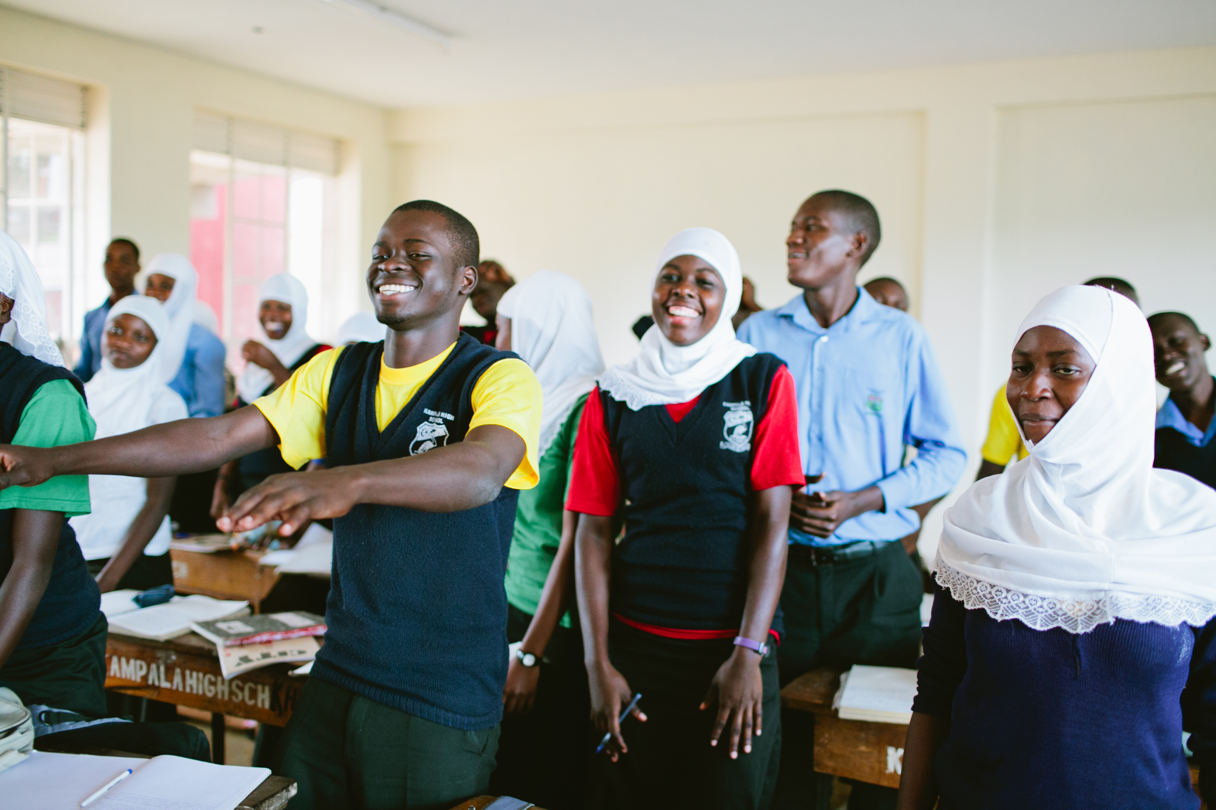 Educate! lesson (interactive game) at Kampala High School. Photo by Ashley Turner for Educate!